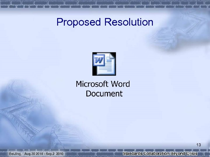 Proposed Resolution 13