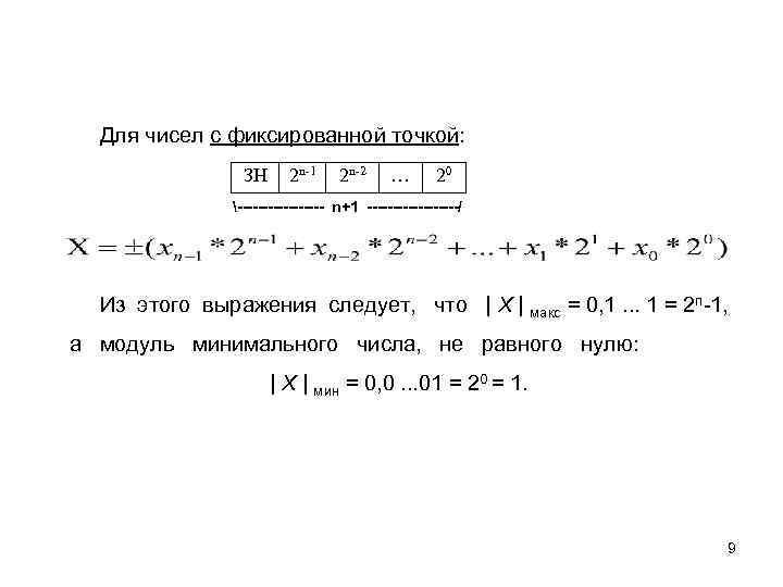 Для чисел с фиксированной точкой: ЗН 2 n-1 2 n-2 … 20 --------- n+1