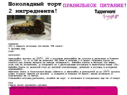 Шоколадный торт ПРАВИЛЬНОЕ ПИТАНИЕ! 2 ингредиента! Ингредиенты: 250 г темного шоколада (не менее 70%