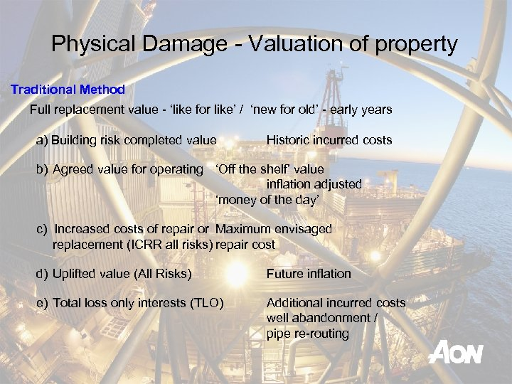 Physical Damage - Valuation of property Traditional Method Full replacement value - 'like for