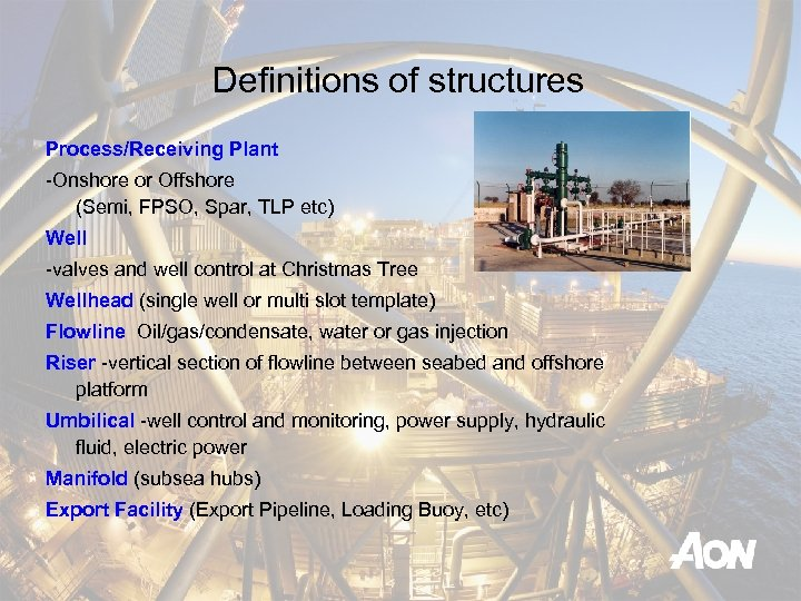 Definitions of structures Process/Receiving Plant -Onshore or Offshore (Semi, FPSO, Spar, TLP etc) Well