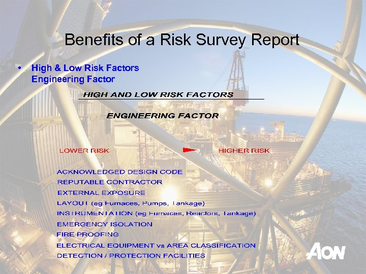 Benefits of a Risk Survey Report • High & Low Risk Factors Engineering Factor