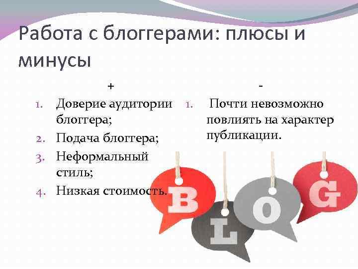 Работа с блоггерами: плюсы и минусы + 1. Доверие аудитории блоггера; 2. Подача блоггера;