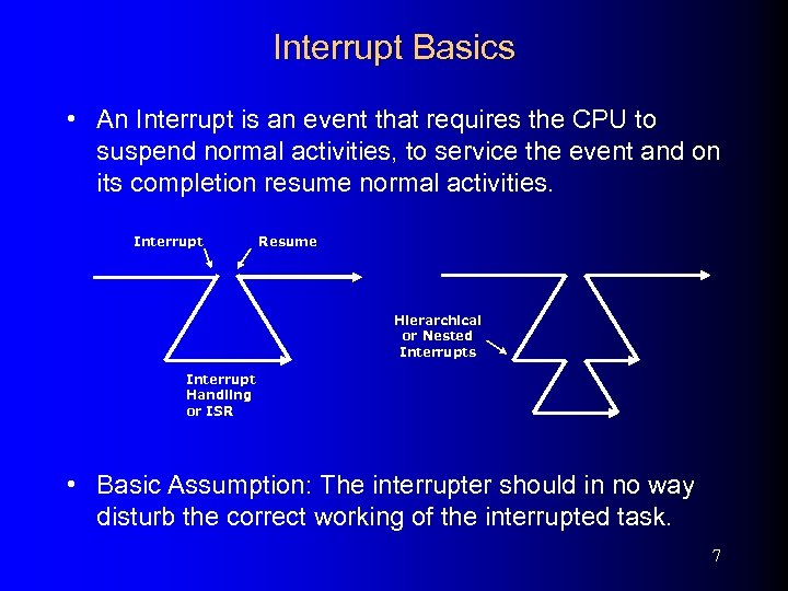 Interrupt Basics • An Interrupt is an event that requires the CPU to suspend