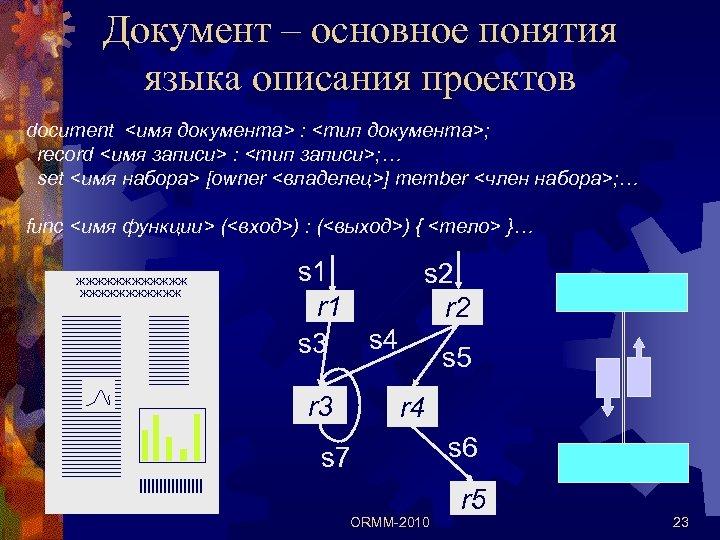 Документ – основное понятия языка описания проектов document <имя документа> : <тип документа>; record