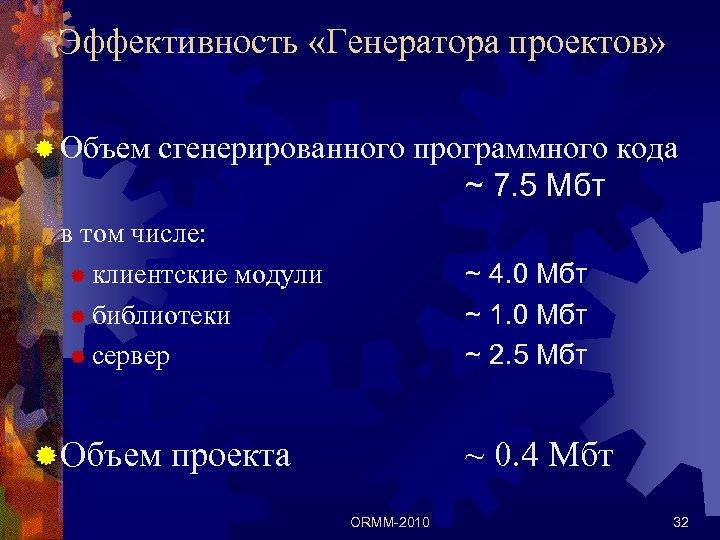 Эффективность «Генератора проектов» ® Объем сгенерированного программного кода ~ 7. 5 Мбт в том