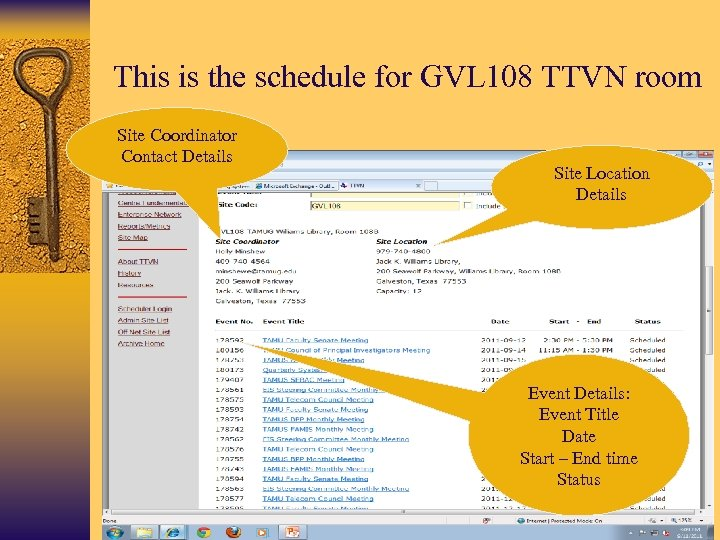 This is the schedule for GVL 108 TTVN room Site Coordinator Contact Details Site