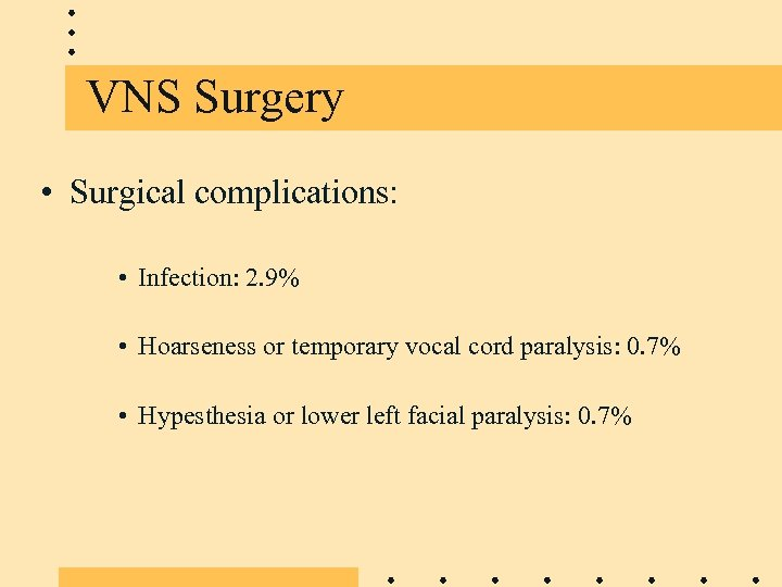 VNS Surgery • Surgical complications: • Infection: 2. 9% • Hoarseness or temporary vocal
