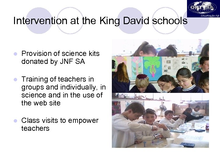 Intervention at the King David schools l Provision of science kits donated by JNF