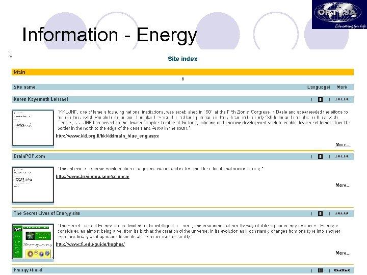 Information - Energy