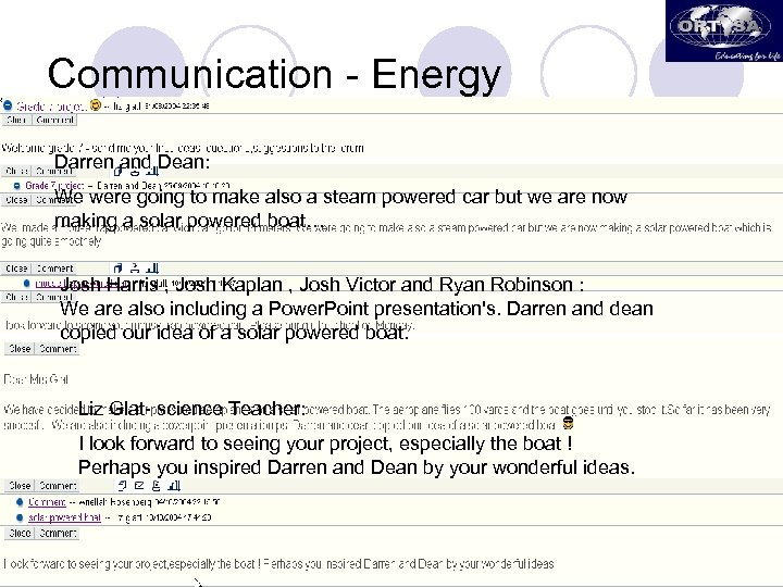 Communication - Energy Darren and Dean: We were going to make also a steam