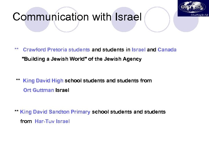 Communication with Israel ** Crawford Pretoria students and students in Israel and Canada