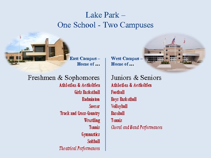 Lake Park – One School - Two Campuses East Campus – Home of …
