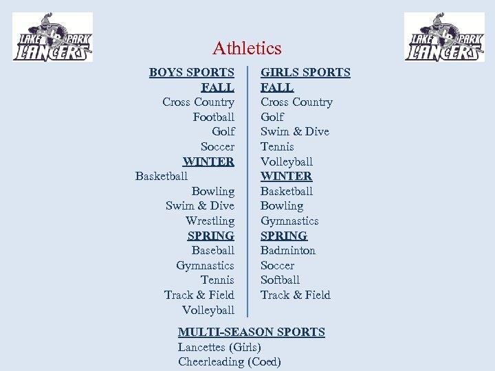 Athletics BOYS SPORTS FALL Cross Country Football Golf Soccer WINTER Basketball Bowling Swim &