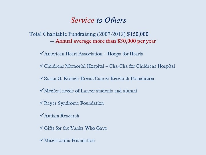 Service to Others Total Charitable Fundraising (2007 -2012) $150, 000 -- Annual average more