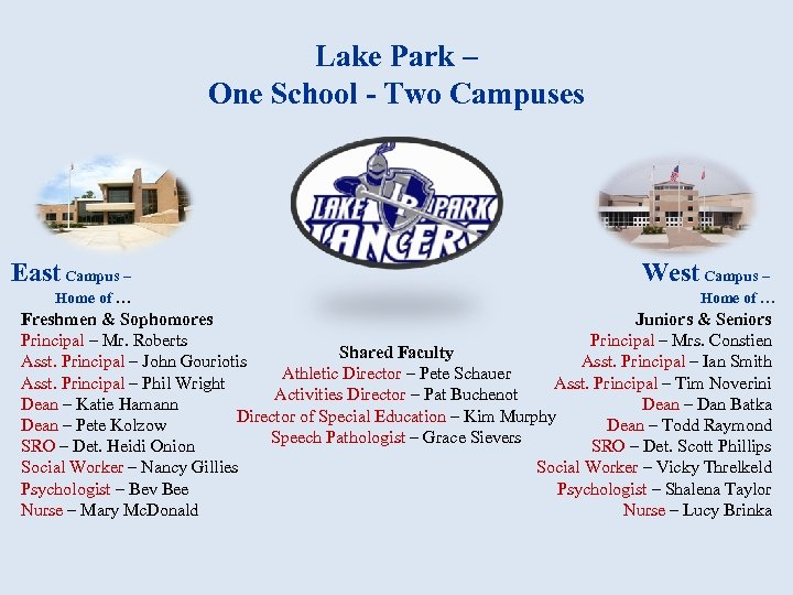 Lake Park – One School - Two Campuses East Campus – West Campus –