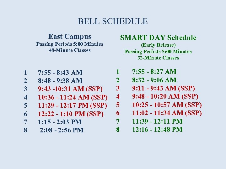 BELL SCHEDULE East Campus Passing Periods 5: 00 Minutes 48 -Minute Classes 1 2