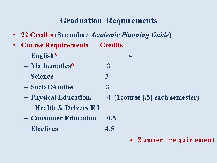 Graduation Requirements • 22 Credits (See online Academic Planning Guide) • Course Requirements Credits