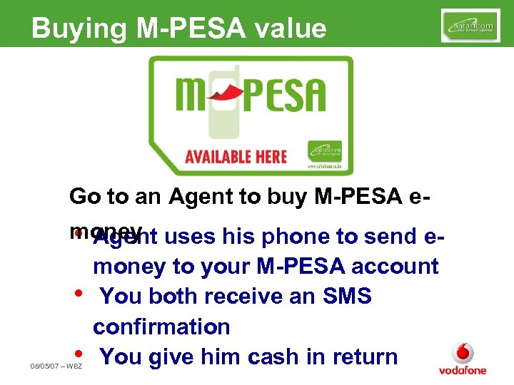 Buying M-PESA value Go to an Agent to buy M-PESA emoney uses his phone