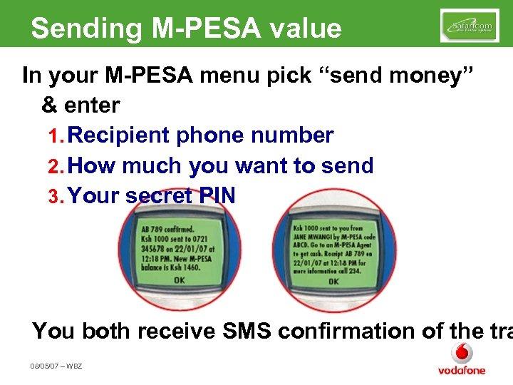 "Sending M-PESA value In your M-PESA menu pick ""send money"" & enter 1. Recipient"