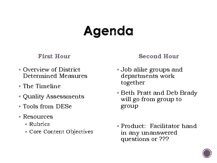 First Hour § Overview of District Determined Measures § The Timeline § Quality Assessments