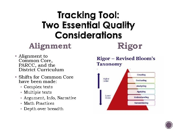 Alignment § Alignment to Common Core, PARCC, and the District Curriculum § Shifts for