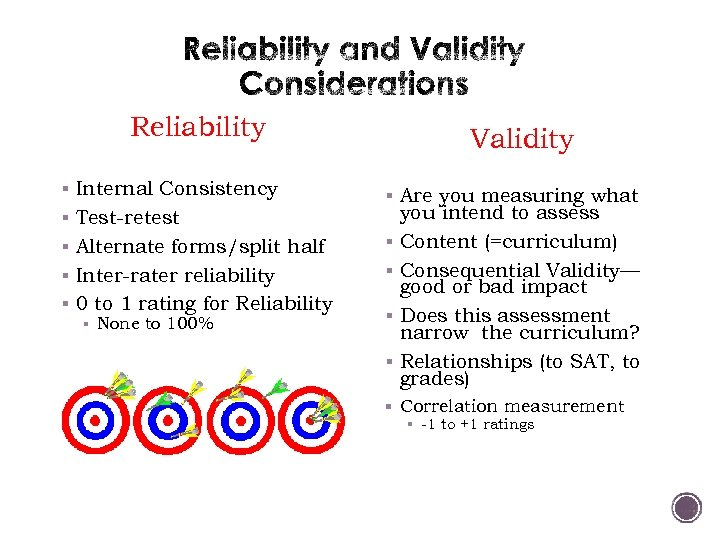 Reliability § Internal Consistency § Test-retest Validity § Are you measuring what § Alternate