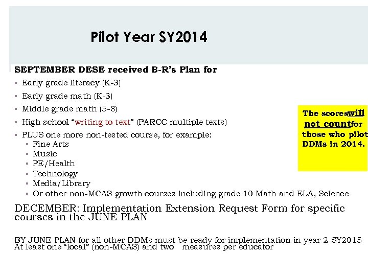 Pilot Year SY 2014 SEPTEMBER DESE received B-R's Plan for § Early grade literacy