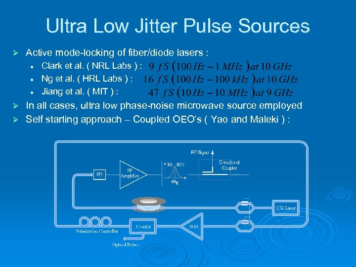 Ultra Low Jitter Pulse Sources Ø Active mode-locking of fiber/diode lasers : l l