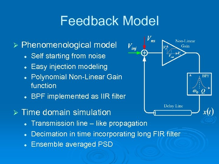 Feedback Model Ø Phenomenological model l l Ø Self starting from noise Easy injection