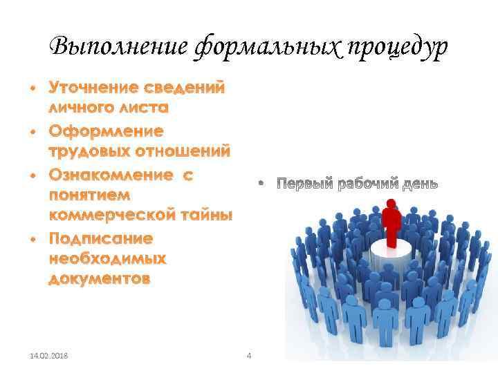 Выполнение формальных процедур • Уточнение сведений личного листа • Оформление трудовых отношений • Ознакомление