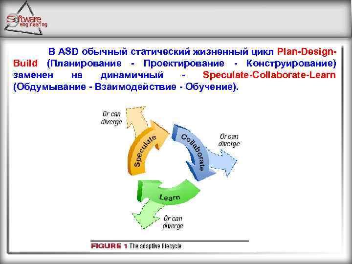 В ASD обычный статический жизненный цикл Plan Design Build (Планирование Проектирование Конструирование) заменен на