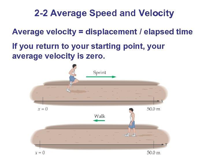 2 -2 Average Speed and Velocity Average velocity = displacement / elapsed time If
