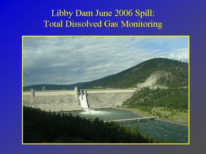 Libby Dam June 2006 Spill: Total Dissolved Gas Monitoring