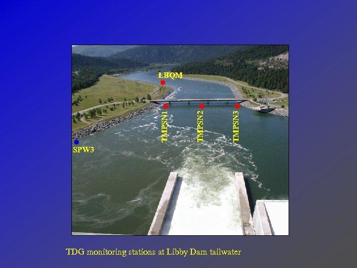 TMPSN 3 TMPSN 2 TMPSN 1 LBQM SPW 3 TDG monitoring stations at Libby