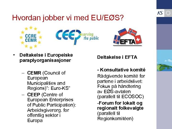 Hvordan jobber vi med EU/EØS? • Deltakelse i Europeiske paraplyorganisasjoner – CEMR (Council of