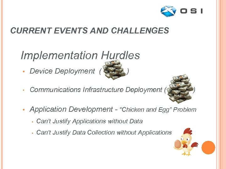 CURRENT EVENTS AND CHALLENGES Implementation Hurdles • Device Deployment ( ) • Communications Infrastructure