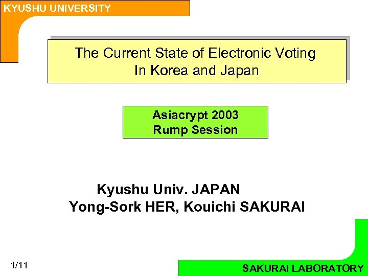KYUSHU UNIVERSITY The Current State of Electronic Voting In Korea and Japan Asiacrypt 2003
