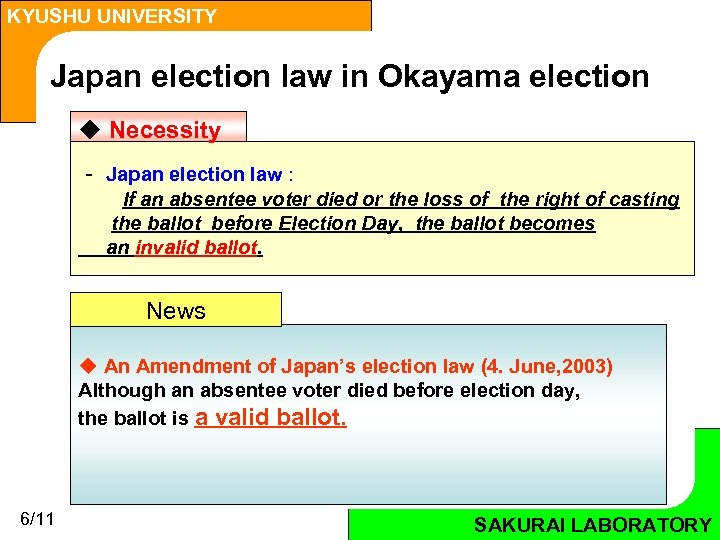 KYUSHU UNIVERSITY Japan election law in Okayama election u Necessity - Japan election law