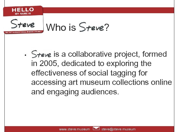 Who is Steve? • Steve is a collaborative project, formed in 2005, dedicated to