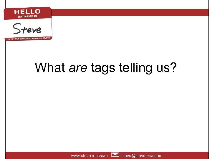 What are tags telling us? www. steve. museum steve@steve. museum