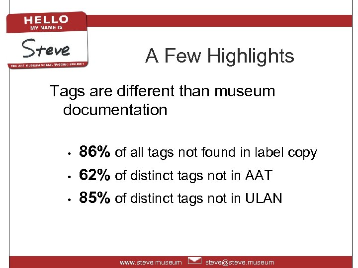 A Few Highlights Tags are different than museum documentation • • • 86% of