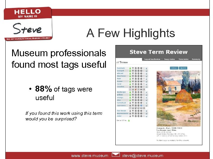 A Few Highlights Museum professionals found most tags useful • 88% of tags were