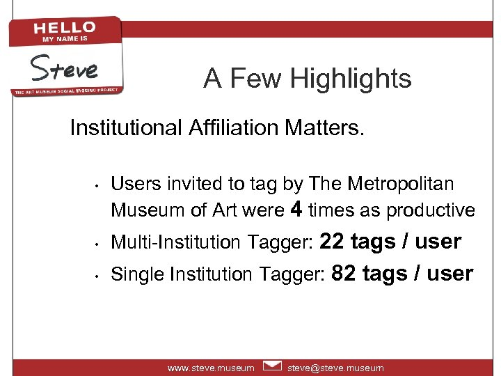 A Few Highlights Institutional Affiliation Matters. • Users invited to tag by The Metropolitan