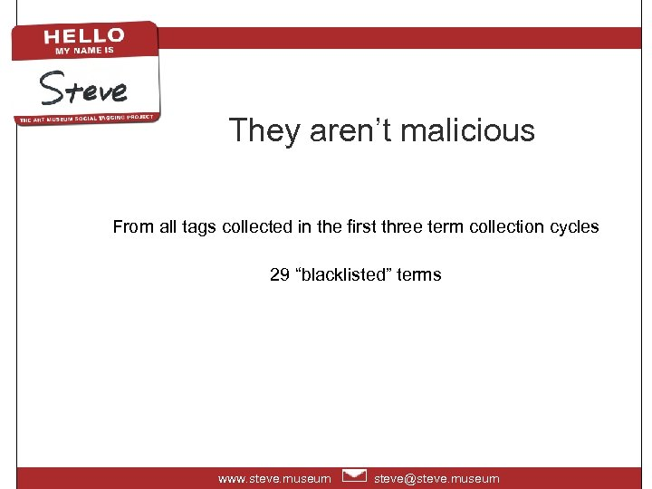 They aren't malicious From all tags collected in the first three term collection cycles