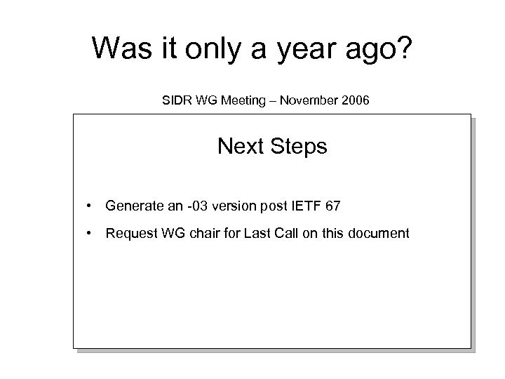 Was it only a year ago? SIDR WG Meeting – November 2006 Next Steps
