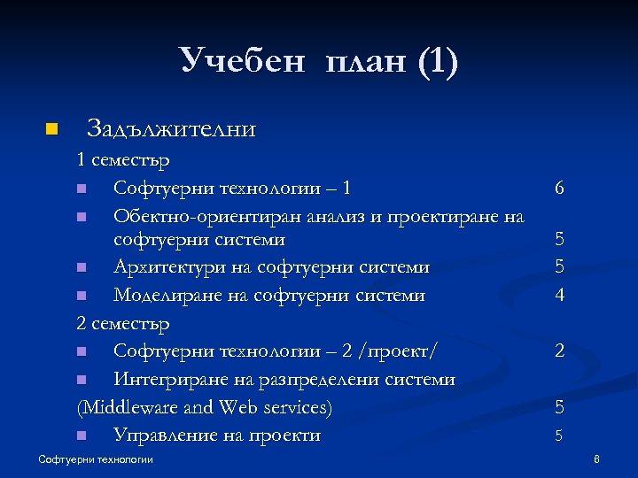 Учебен план (1) n Задължителни 1 семестър n Софтуерни технологии – 1 n Обектно-ориентиран