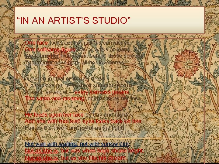 """""""IN AN ARTIST'S STUDIO"""" • One face looks out from all his canvasses, One"""
