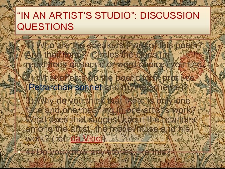 """""""IN AN ARTIST'S STUDIO"""": DISCUSSION QUESTIONS • 1) Who are the speakers (""""we) of"""