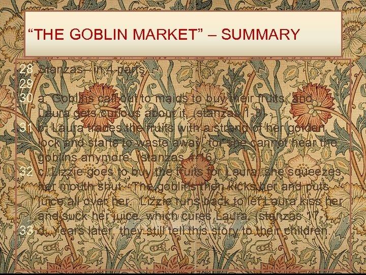 """""""THE GOBLIN MARKET"""" – SUMMARY 28 Stanzas– in 4 parts: 29 30 a. Goblins"""